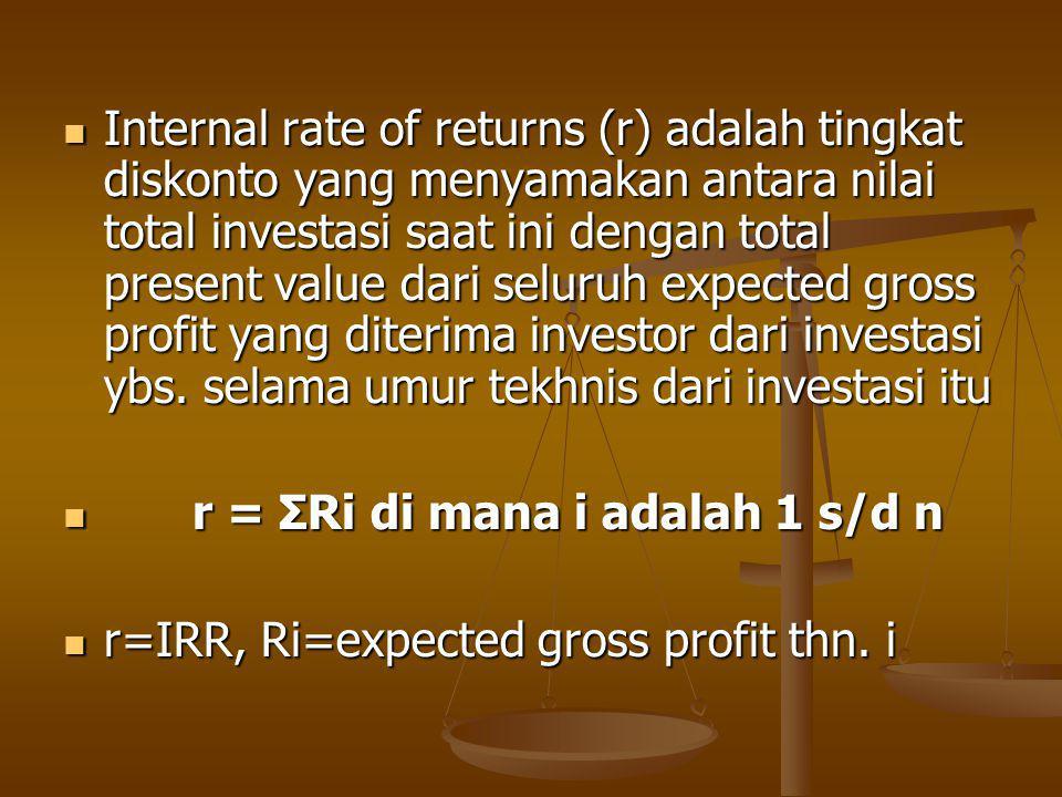 Internal rate of returns (r) adalah tingkat diskonto yang menyamakan antara nilai total investasi saat ini dengan total present value dari seluruh expected gross profit yang diterima investor dari investasi ybs. selama umur tekhnis dari investasi itu