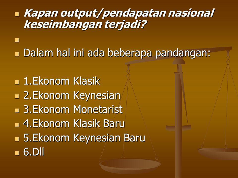 Kapan output/pendapatan nasional keseimbangan terjadi