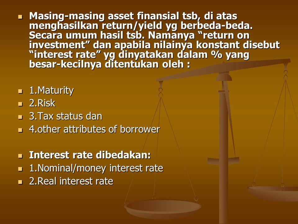 Masing-masing asset finansial tsb, di atas menghasilkan return/yield yg berbeda-beda. Secara umum hasil tsb. Namanya return on investment dan apabila nilainya konstant disebut interest rate yg dinyatakan dalam % yang besar-kecilnya ditentukan oleh :