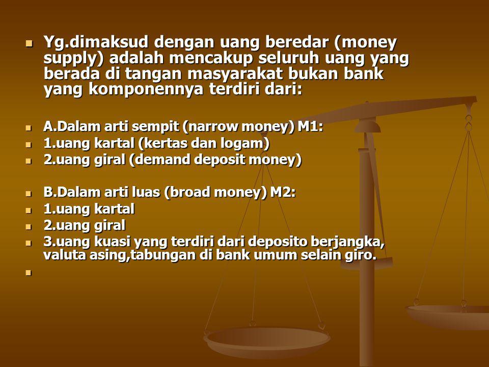 Yg.dimaksud dengan uang beredar (money supply) adalah mencakup seluruh uang yang berada di tangan masyarakat bukan bank yang komponennya terdiri dari: