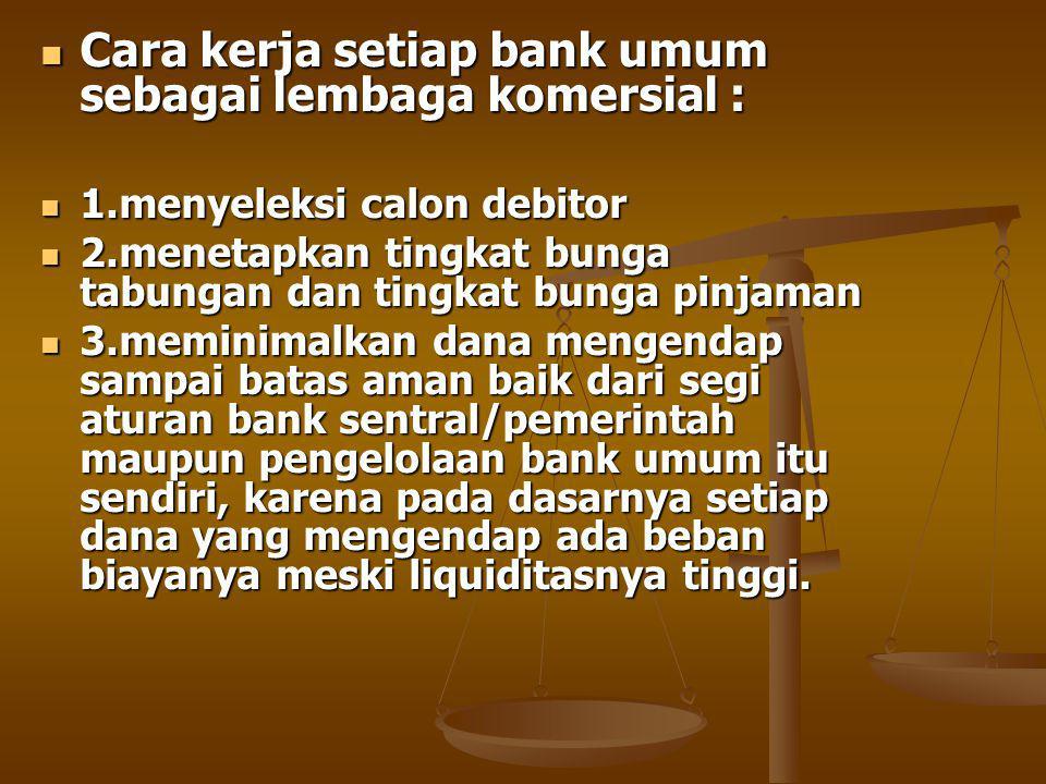Cara kerja setiap bank umum sebagai lembaga komersial :