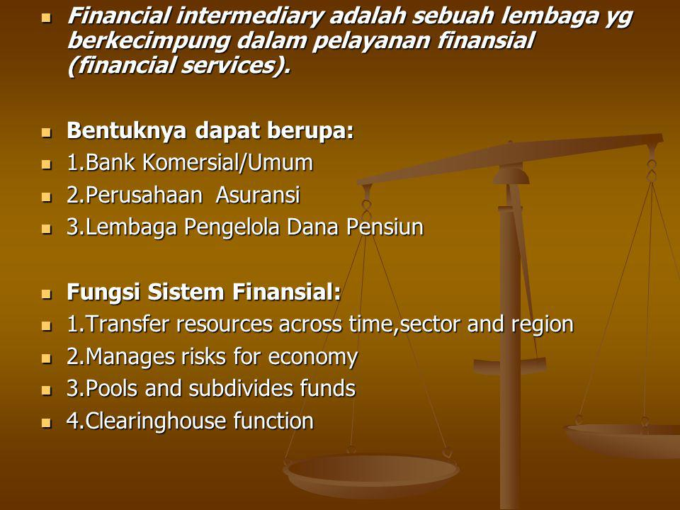 Financial intermediary adalah sebuah lembaga yg berkecimpung dalam pelayanan finansial (financial services).