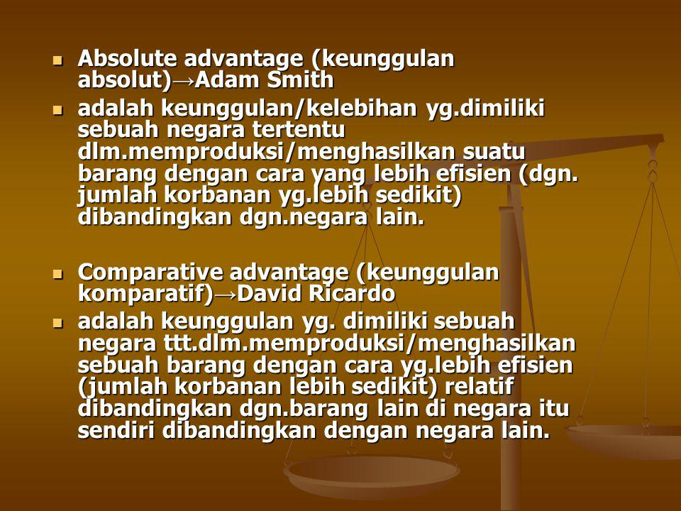 Absolute advantage (keunggulan absolut)→Adam Smith
