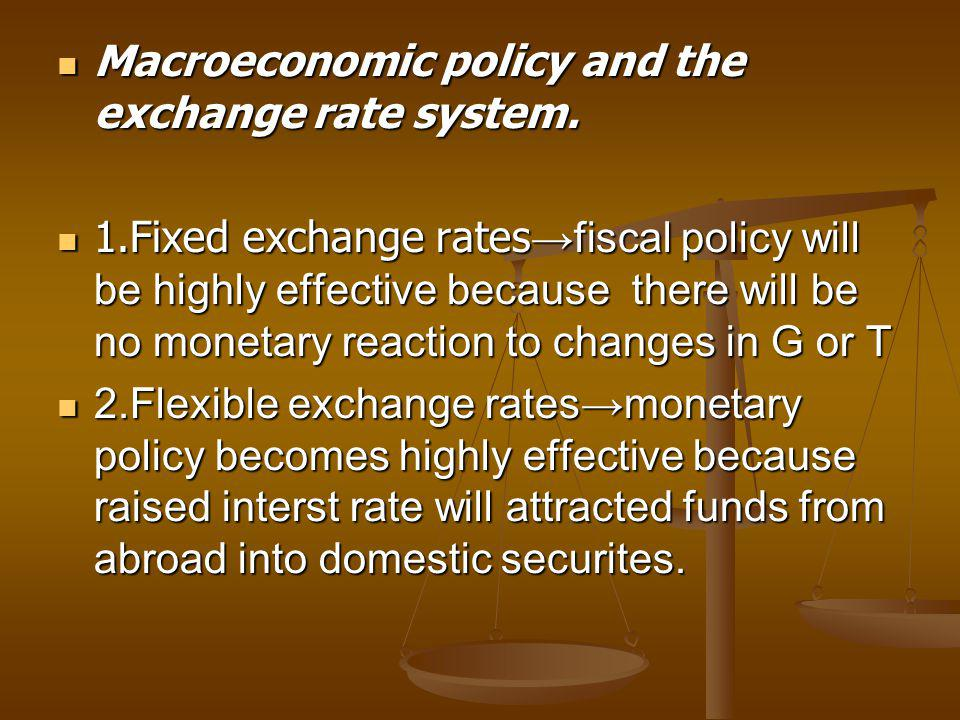 Macroeconomic policy and the exchange rate system.