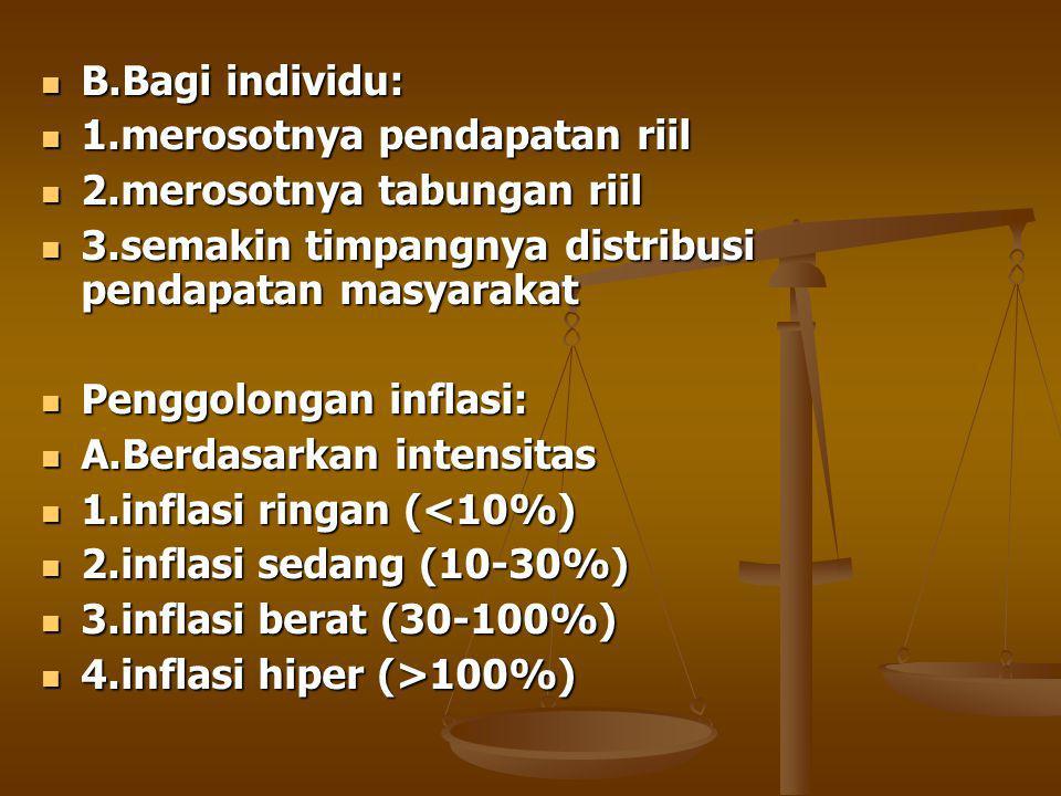 B.Bagi individu: 1.merosotnya pendapatan riil. 2.merosotnya tabungan riil. 3.semakin timpangnya distribusi pendapatan masyarakat.