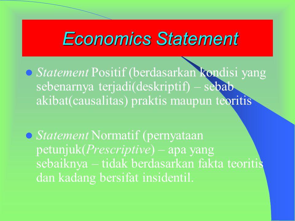 Economics Statement Statement Positif (berdasarkan kondisi yang sebenarnya terjadi(deskriptif) – sebab akibat(causalitas) praktis maupun teoritis.