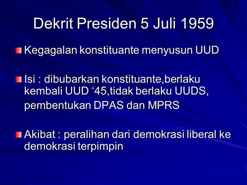 Dekrit Presiden 5 Juli 1959 Kegagalan konstituante menyusun UUD