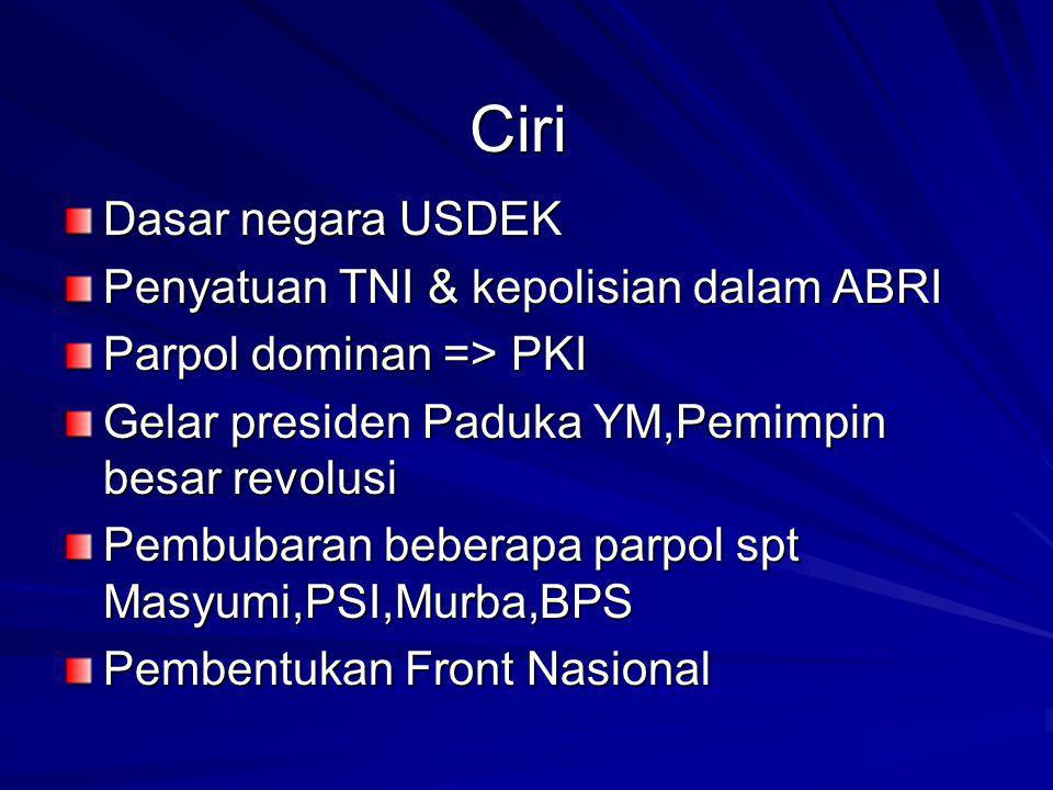 Ciri Dasar negara USDEK Penyatuan TNI & kepolisian dalam ABRI