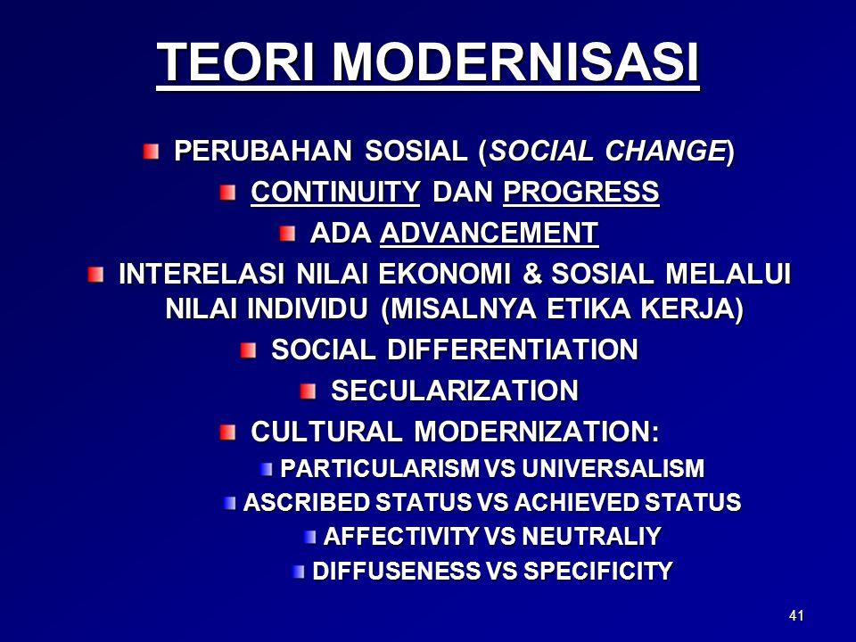 TEORI MODERNISASI PERUBAHAN SOSIAL (SOCIAL CHANGE)