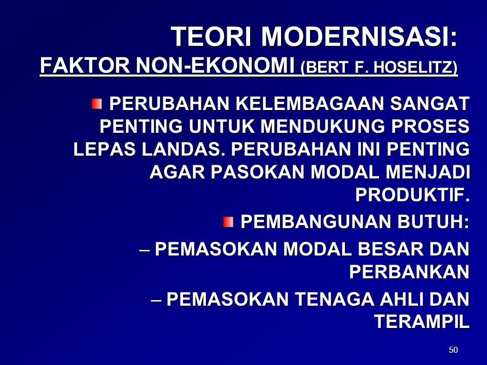 TEORI MODERNISASI: FAKTOR NON-EKONOMI (BERT F. HOSELITZ)