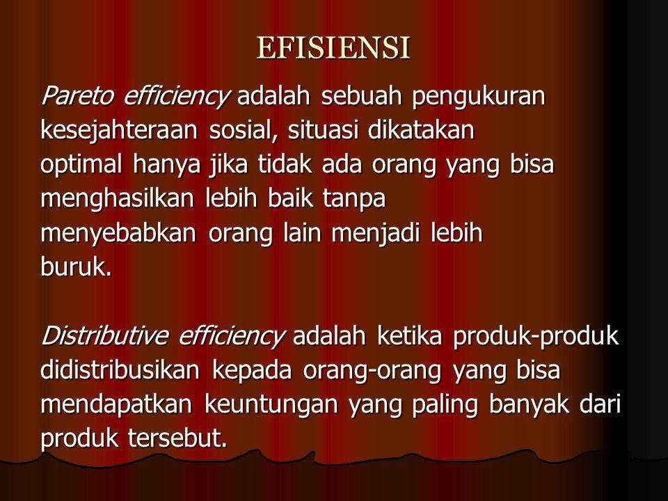 EFISIENSI Pareto efficiency adalah sebuah pengukuran