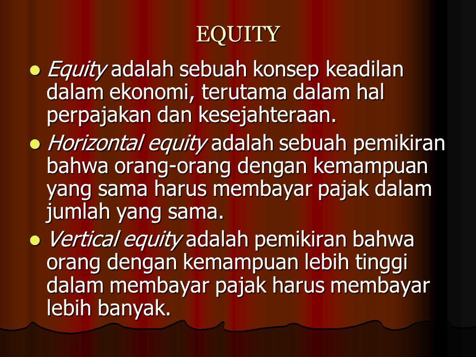 EQUITY Equity adalah sebuah konsep keadilan dalam ekonomi, terutama dalam hal perpajakan dan kesejahteraan.