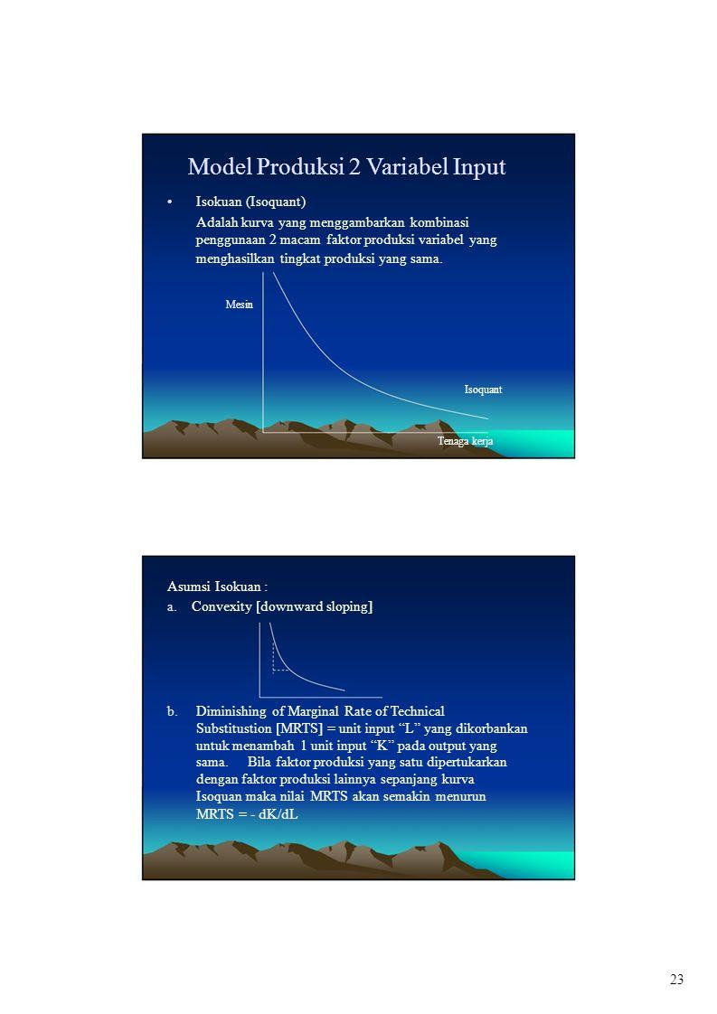 Model Produksi 2 Variabel Input