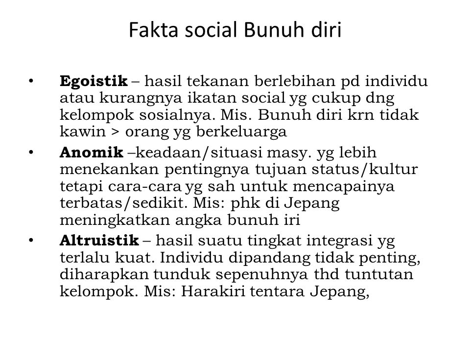 Fakta social Bunuh diri