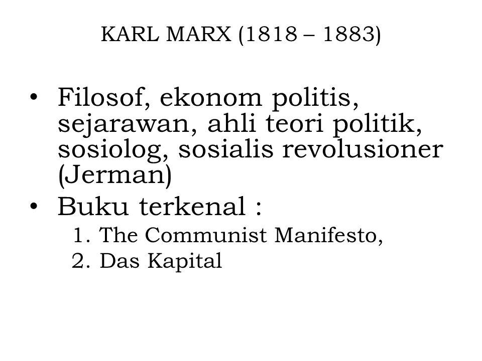 KARL MARX (1818 – 1883) Filosof, ekonom politis, sejarawan, ahli teori politik, sosiolog, sosialis revolusioner (Jerman)