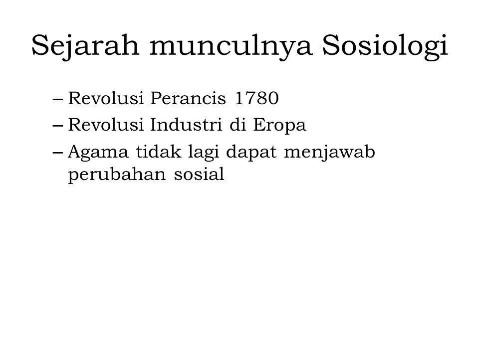 Sejarah munculnya Sosiologi