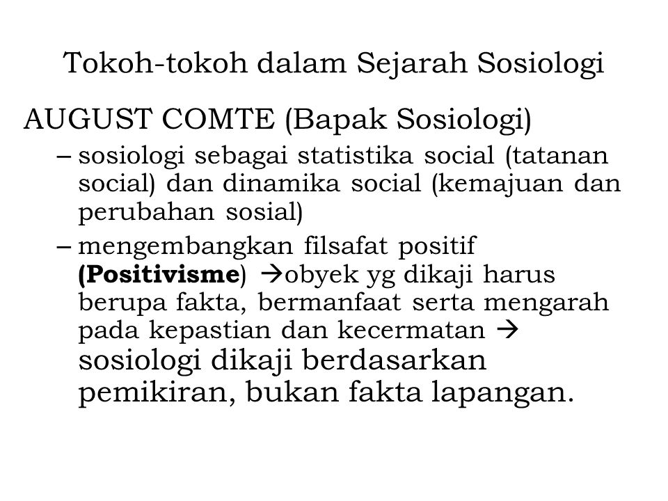 Tokoh-tokoh dalam Sejarah Sosiologi