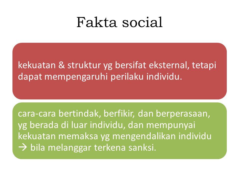 Fakta social kekuatan & struktur yg bersifat eksternal, tetapi dapat mempengaruhi perilaku individu.