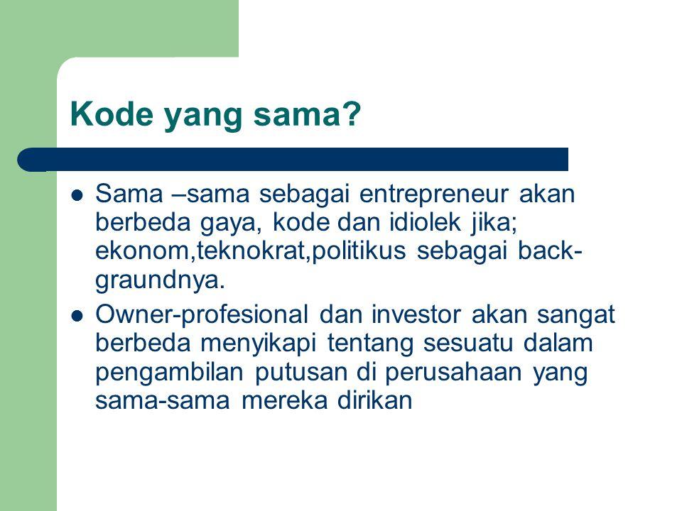 Kode yang sama Sama –sama sebagai entrepreneur akan berbeda gaya, kode dan idiolek jika; ekonom,teknokrat,politikus sebagai back-graundnya.