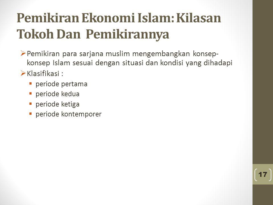 Pemikiran Ekonomi Islam: Kilasan Tokoh Dan Pemikirannya