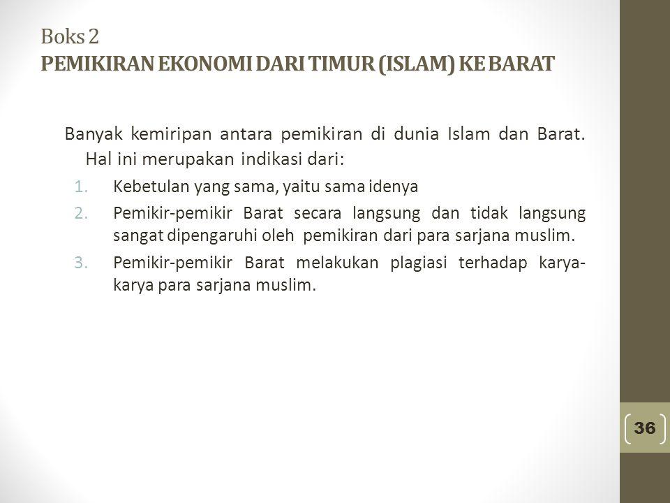 Boks 2 PEMIKIRAN EKONOMI DARI TIMUR (ISLAM) KE BARAT