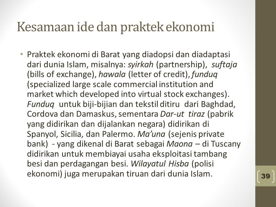 Kesamaan ide dan praktek ekonomi