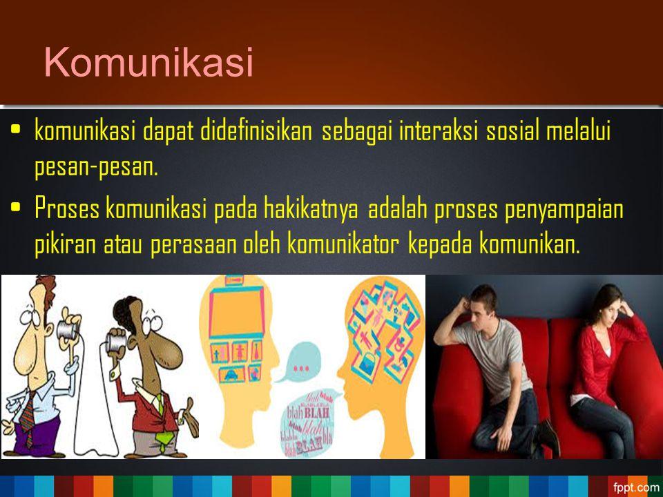 Komunikasi komunikasi dapat didefinisikan sebagai interaksi sosial melalui pesan-pesan.