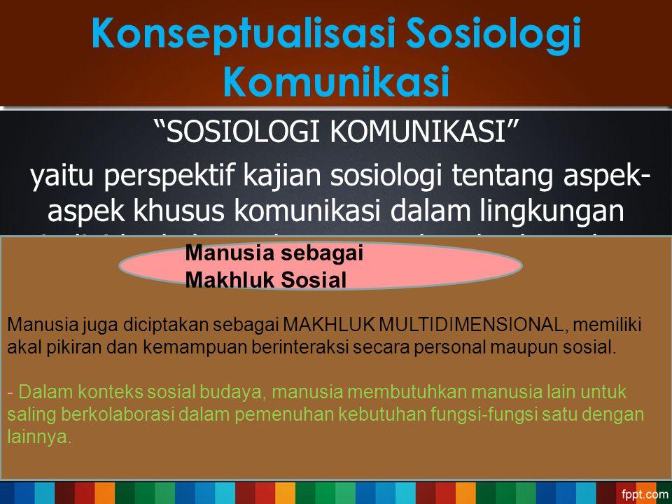 Konseptualisasi Sosiologi Komunikasi