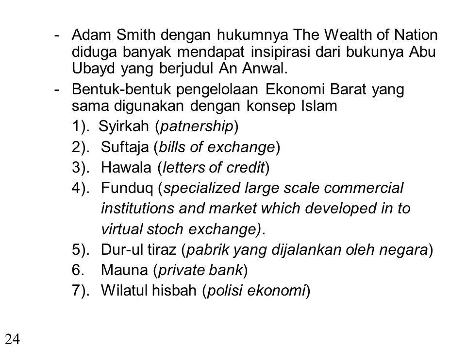 - Adam Smith dengan hukumnya The Wealth of Nation diduga banyak mendapat insipirasi dari bukunya Abu Ubayd yang berjudul An Anwal.