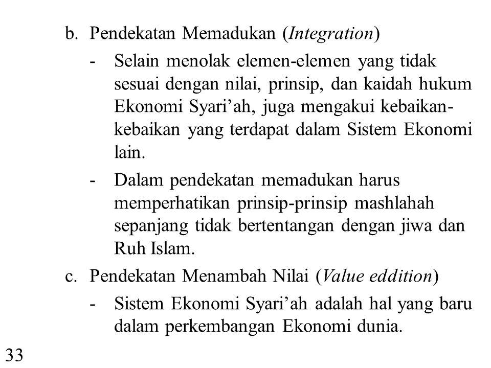 b. Pendekatan Memadukan (Integration)