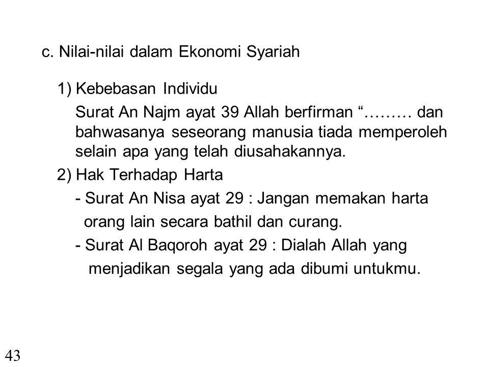 c. Nilai-nilai dalam Ekonomi Syariah