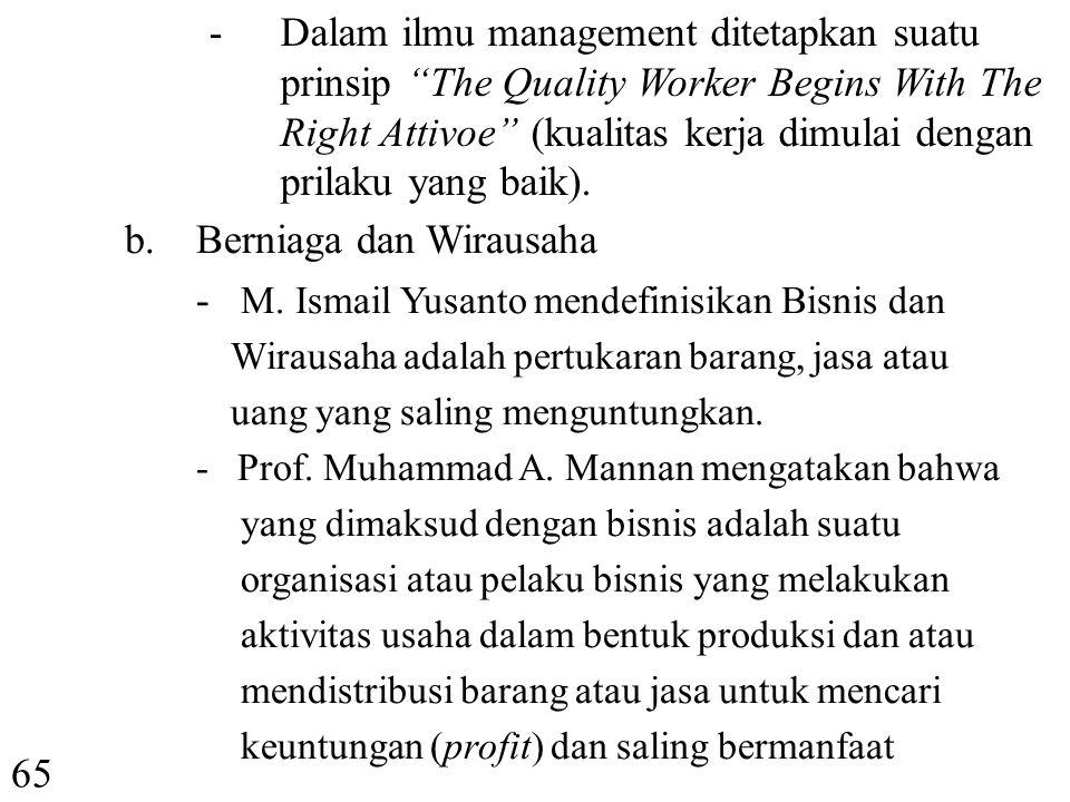 Berniaga dan Wirausaha - M. Ismail Yusanto mendefinisikan Bisnis dan