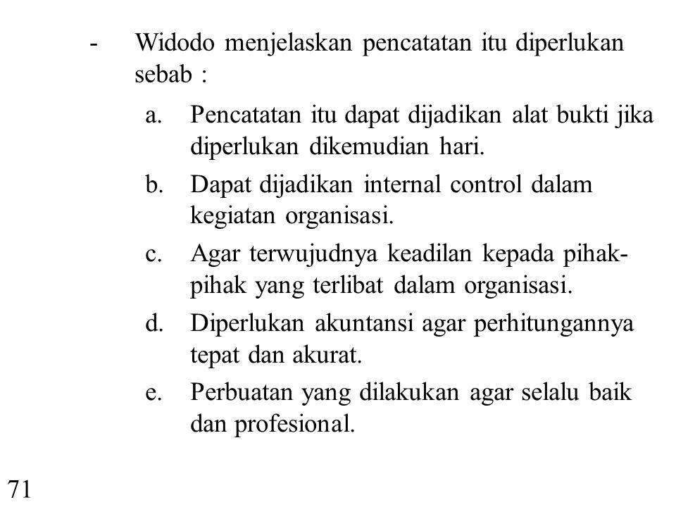 - Widodo menjelaskan pencatatan itu diperlukan sebab :