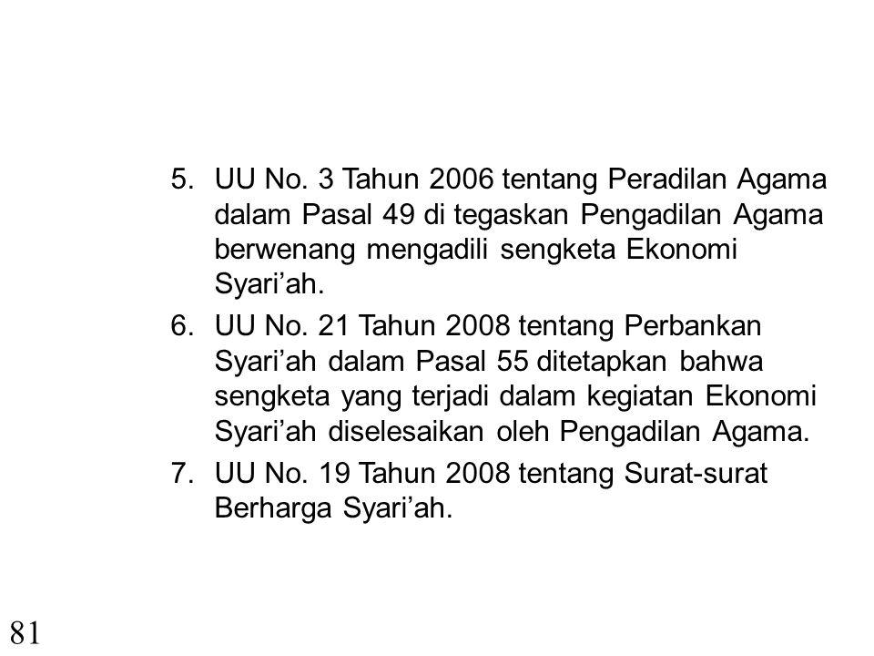 UU No. 3 Tahun 2006 tentang Peradilan Agama dalam Pasal 49 di tegaskan Pengadilan Agama berwenang mengadili sengketa Ekonomi Syari'ah.