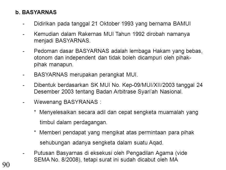 b. BASYARNAS Didirikan pada tanggal 21 Oktober 1993 yang bernama BAMUI. Kemudian dalam Rakernas MUI Tahun 1992 dirobah namanya menjadi BASYARNAS.