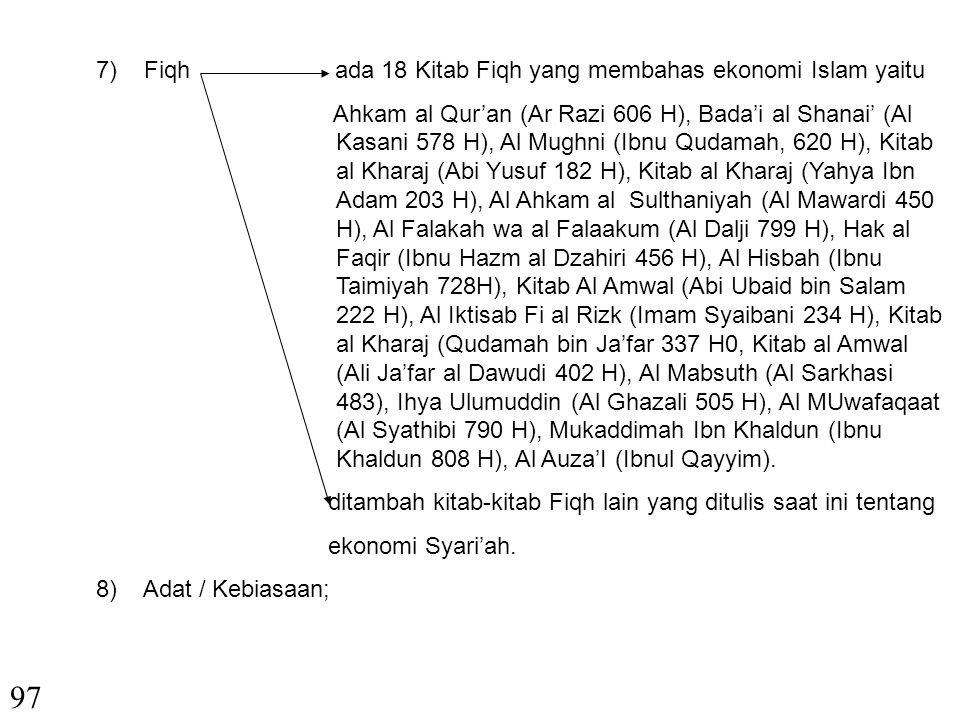 97 Fiqh ada 18 Kitab Fiqh yang membahas ekonomi Islam yaitu