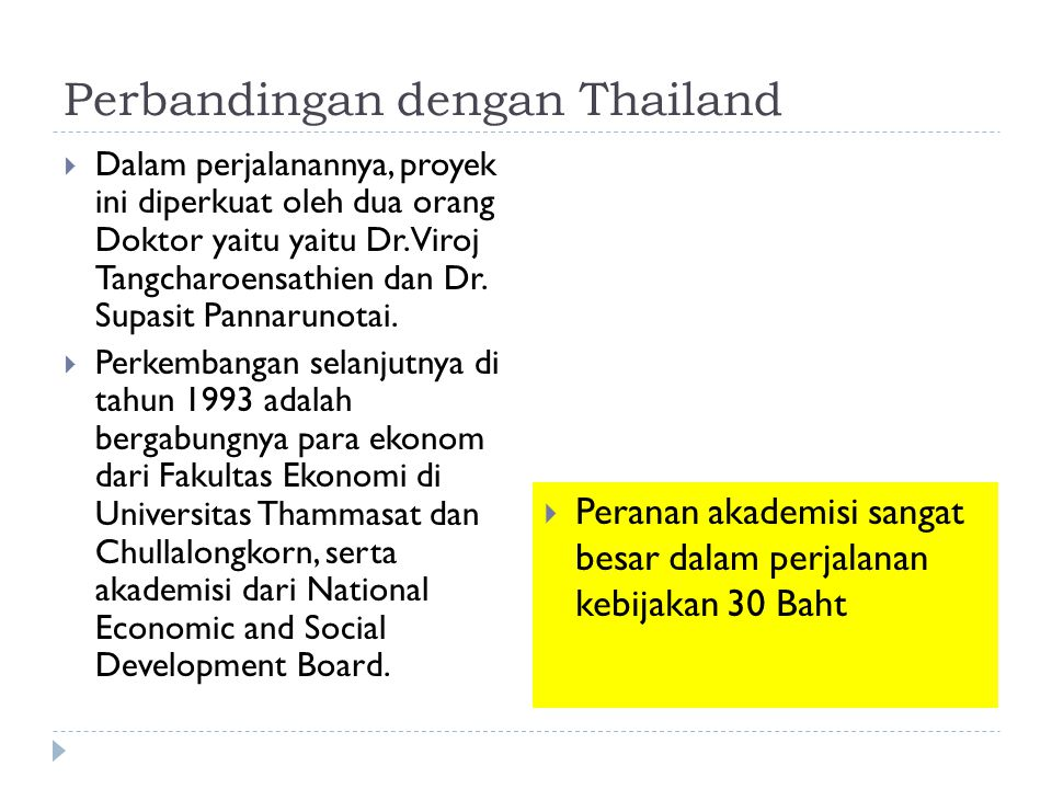 Perbandingan dengan Thailand