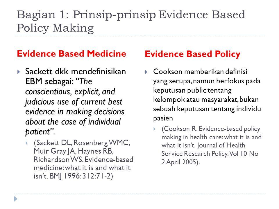 Bagian 1: Prinsip-prinsip Evidence Based Policy Making