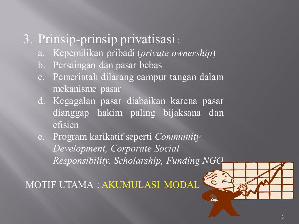 Prinsip-prinsip privatisasi :