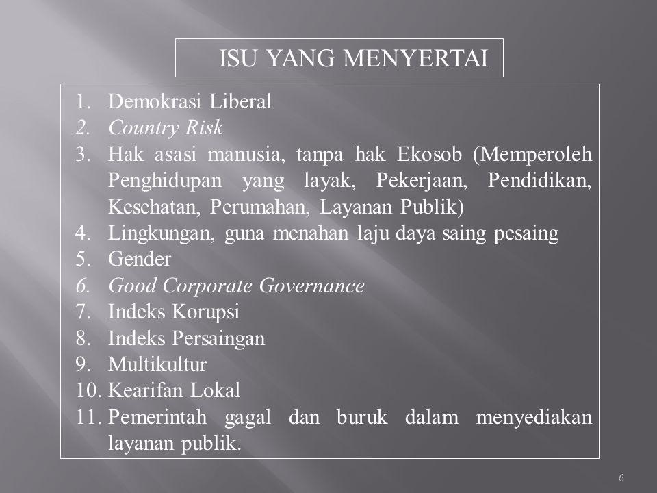 ISU YANG MENYERTAI Demokrasi Liberal Country Risk