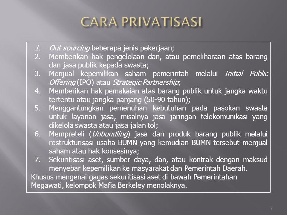 CARA PRIVATISASI Out sourcing beberapa jenis pekerjaan;
