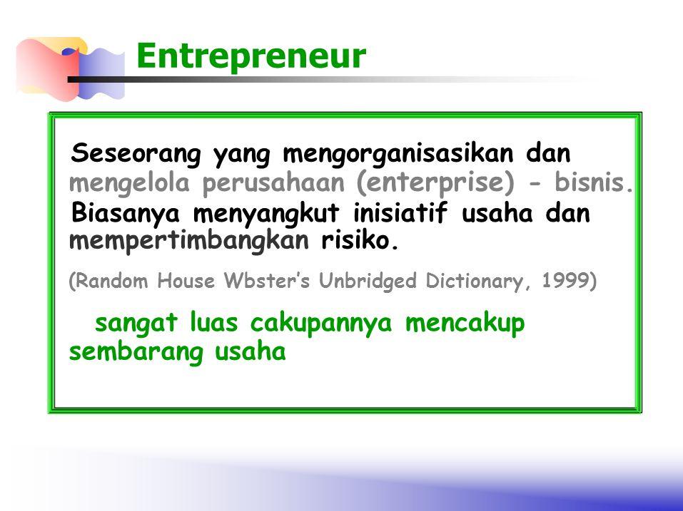 Entrepreneur Seseorang yang mengorganisasikan dan