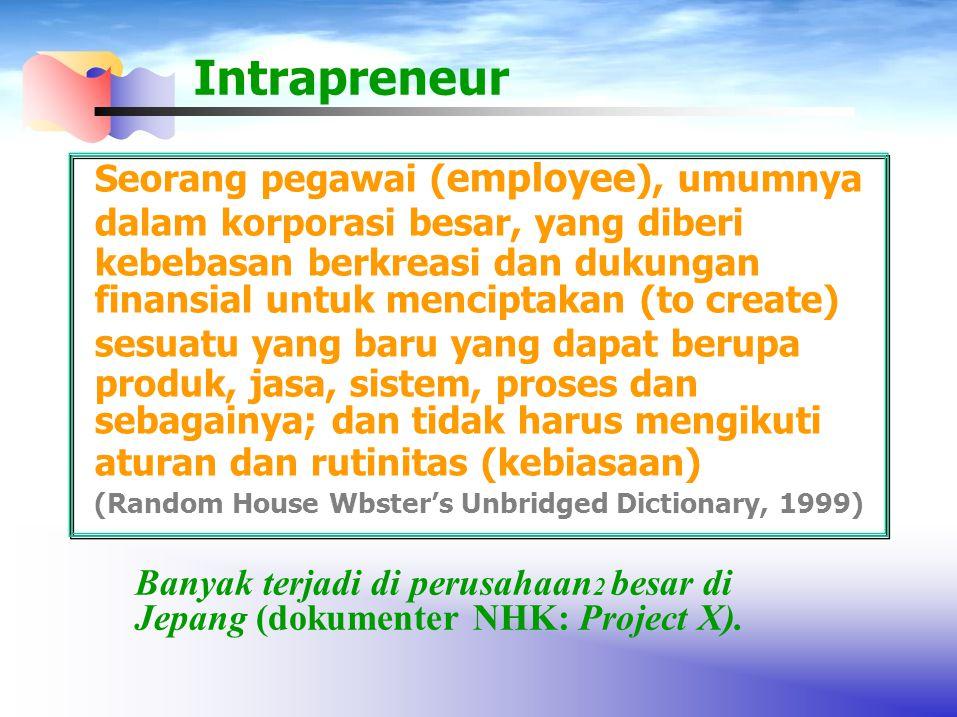 Intrapreneur Seorang pegawai (employee), umumnya