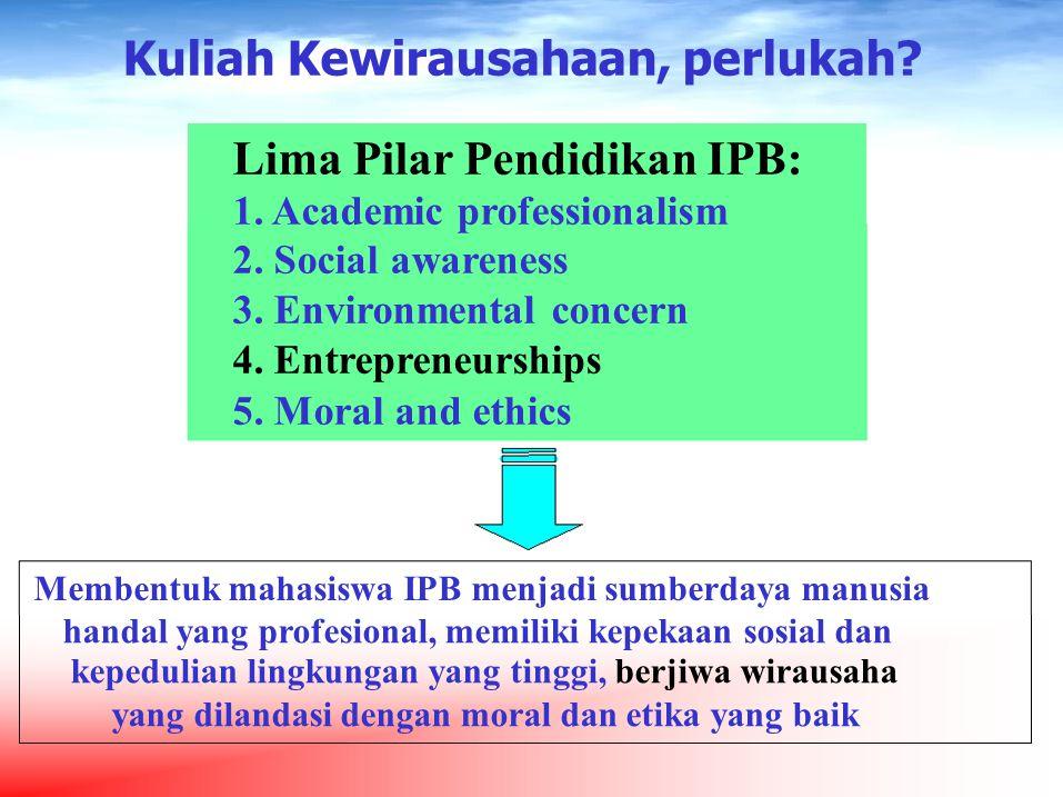 Kuliah Kewirausahaan, perlukah Lima Pilar Pendidikan IPB: