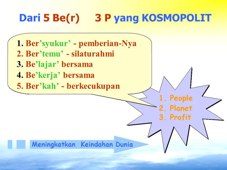 Dari 5 Be(r) 3 P yang KOSMOPOLIT 1. Ber'syukur' - pemberian-Nya