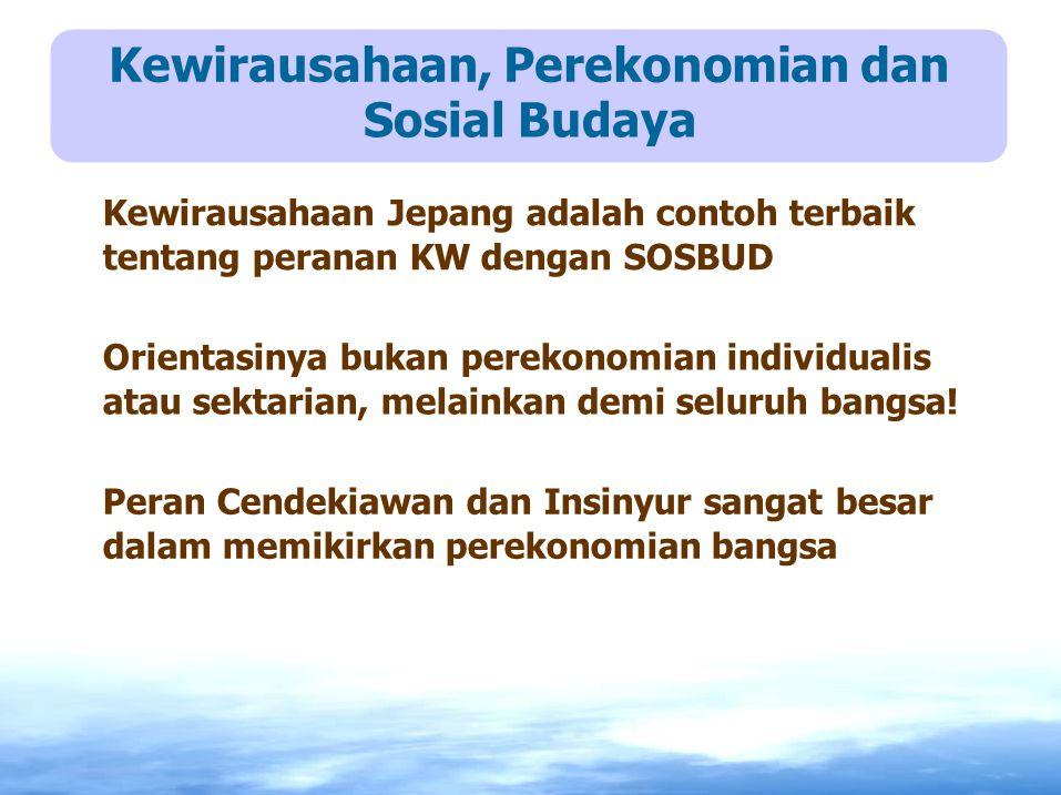 Kewirausahaan, Perekonomian dan Sosial Budaya