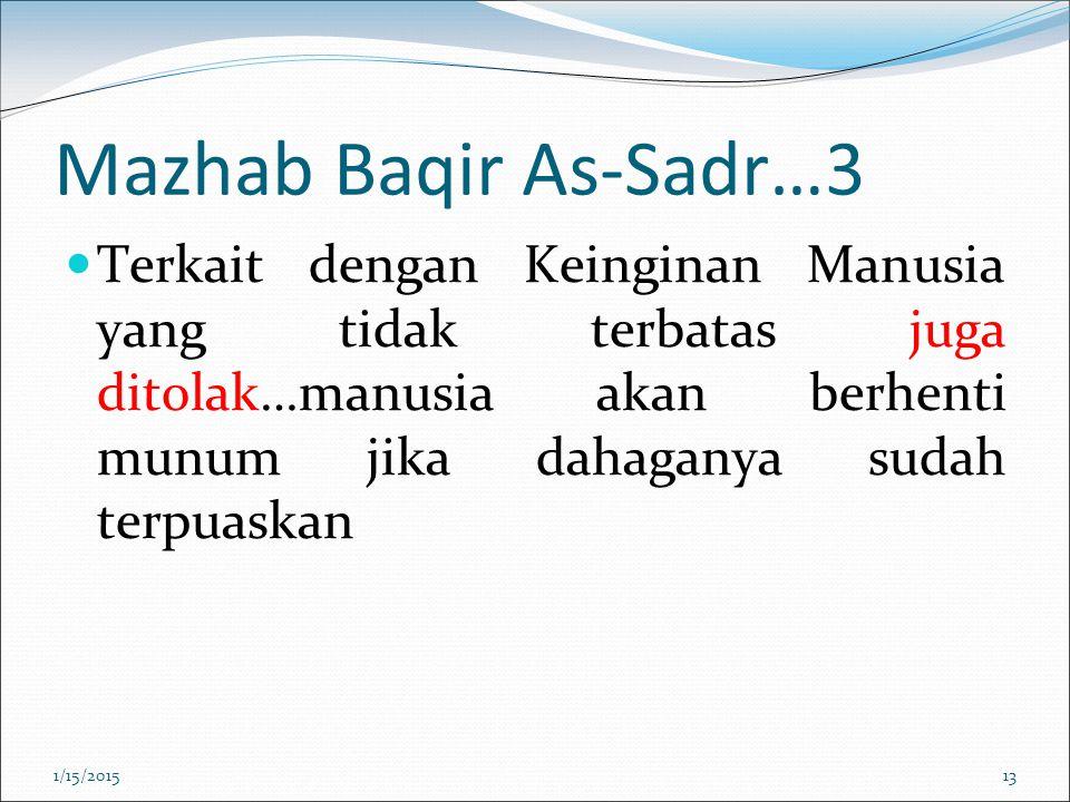 Mazhab Baqir As-Sadr…3 Terkait dengan Keinginan Manusia yang tidak terbatas juga ditolak…manusia akan berhenti munum jika dahaganya sudah terpuaskan.