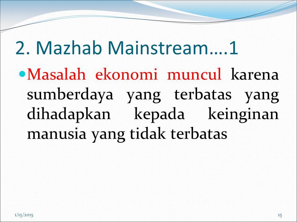 2. Mazhab Mainstream….1 Masalah ekonomi muncul karena sumberdaya yang terbatas yang dihadapkan kepada keinginan manusia yang tidak terbatas.