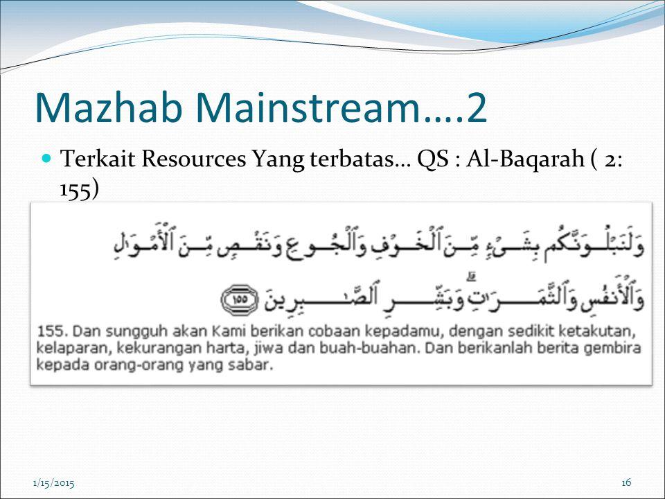 Mazhab Mainstream….2 Terkait Resources Yang terbatas… QS : Al-Baqarah ( 2: 155) 4/8/2017