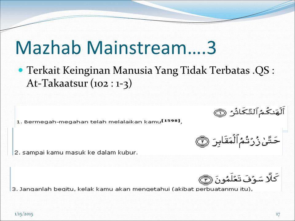 Mazhab Mainstream….3 Terkait Keinginan Manusia Yang Tidak Terbatas .QS : At-Takaatsur (102 : 1-3) 4/8/2017.
